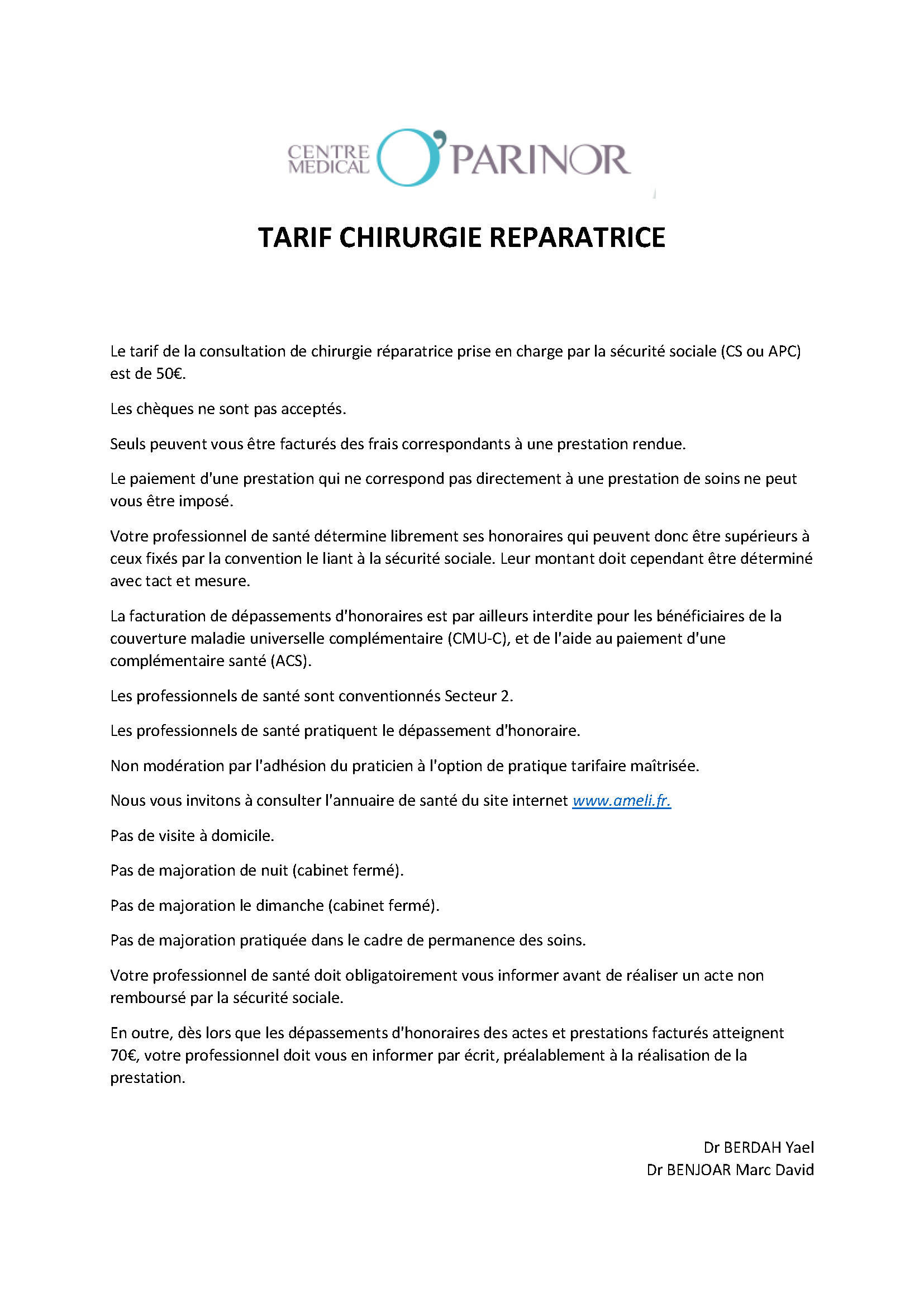Tarifs chirurgie Reconstructrice